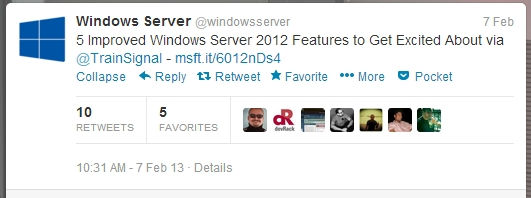 windows server 2012 tweet